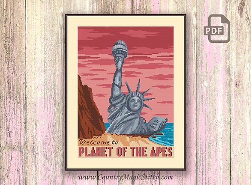 Welcome to Planet of the Apes Cross Stitch Pattern #tv067