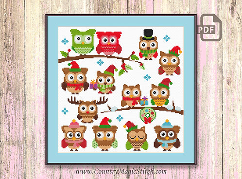 Christmas Owls Cross Stitch Pattern #ch008