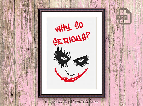 Why So Serious The Joker Cross Stitch Pattern #oth009