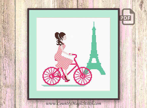 Paris By Bike Cross Stitch Pattern #oth004