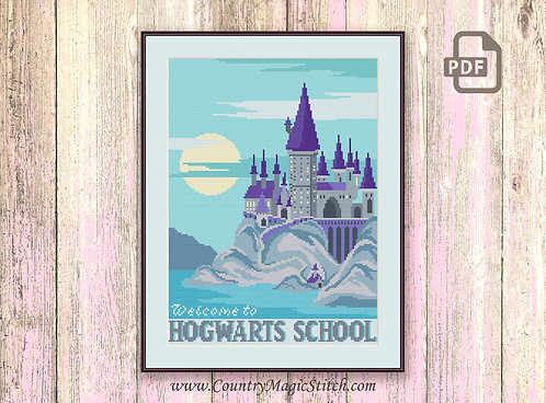 Welcome to Horwarts School Cross Stitch Pattern #hp017