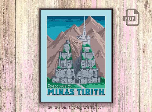 Welcome to Minas Tirith Cross Stitch Pattern #tv066