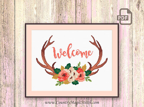 Welcome Deer Cross Stitch Pattern #oth038