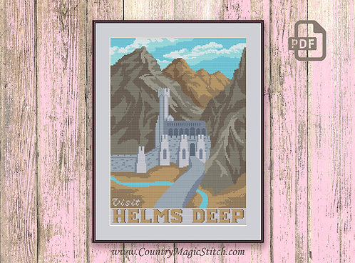 Visit Helms Deep Cross Stitch Pattern #tv059