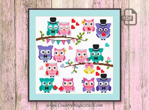Wedding Owls Cross Stitch Pattern #owl08