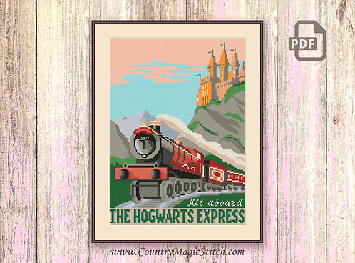 All Aboard the Hogwarts Express Cross Stitch Pattern #hp015