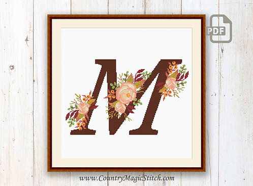 Monogram M Cross Stitch Pattern
