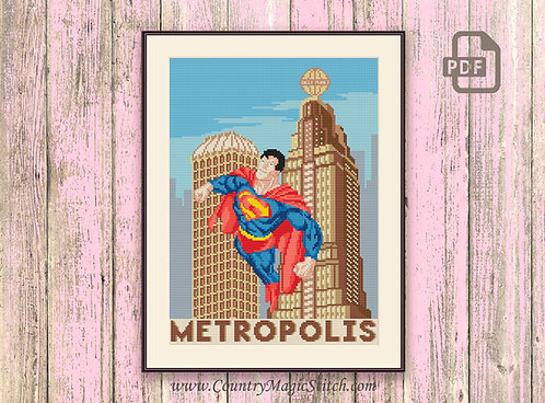 Visit Metropolis Cross Stitch Pattern #tv005