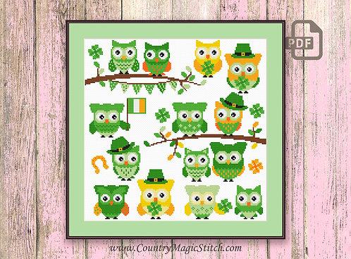 St Patrick Owls Cross Stitch Pattern #owl11