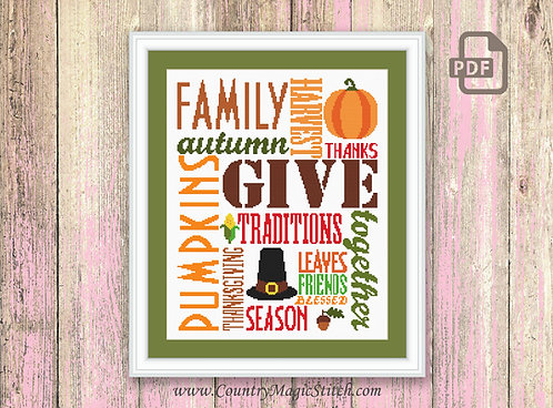 Thanksgiving Day Cross Stitch Pattern #tg002