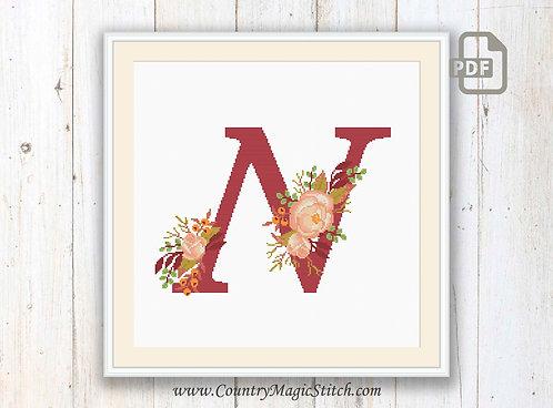 Monogram N Cross Stitch Pattern