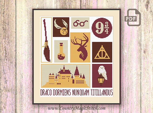Collage Wizards Cross Stitch Pattern #hp018
