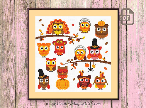 Thanksgiving Owls Cross Stitch Pattern #tg003
