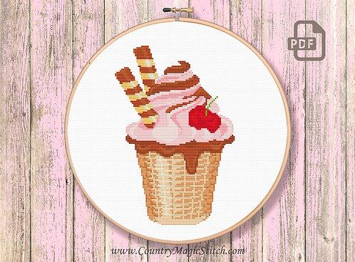 Ice Cream Cup Cross Stitch Pattern #kt07
