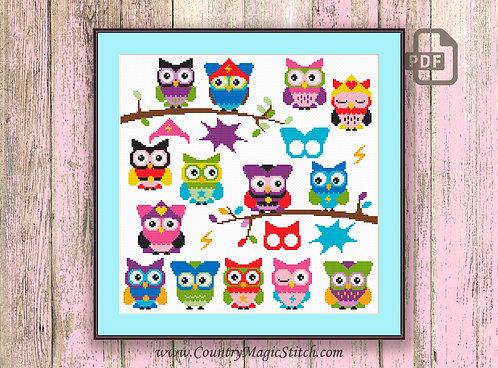 SuperHero Owls Cross Stitch Pattern #owl14