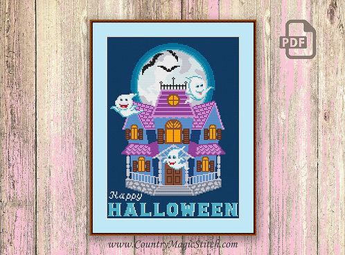 Haunted Mansion Cross Stitch Pattern #hl009