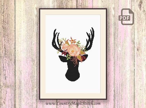 The Deer's Head Cross Stitch #oth057