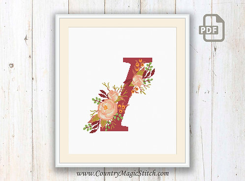 Monogram I Cross Stitch Pattern
