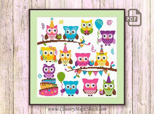 Cute Party Owls Cross Stitch Pattern #owl09