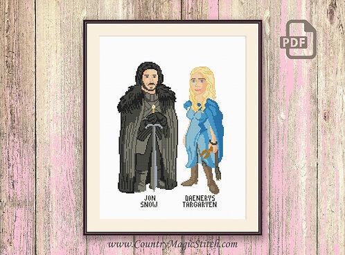 Jon Snow & Daenerys Targaryen Cross Stitch Pattern #got014