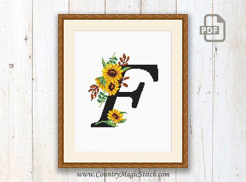 Monogram F Cross Stitch Pattern