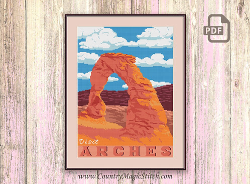 Visit Arches Cross Stitch Pattern #ntp001