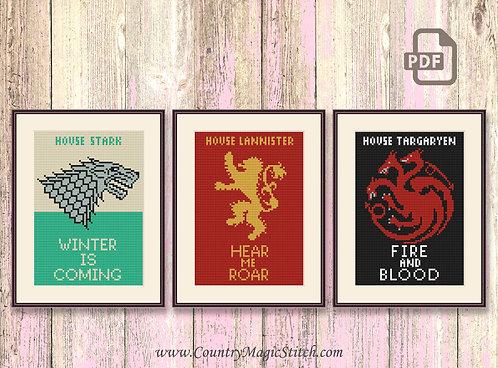 House Stark, House Lannister, House Targaryen Cross Stitch Pattern #got033