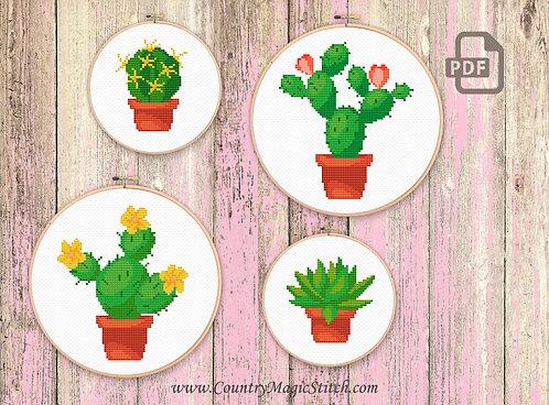 Set of 4 Cactus Cross Stitch Pattern #oth020