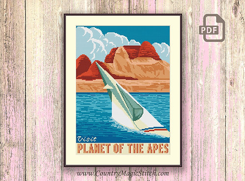 Visit Planet of the Apes Cross Stitch Pattern #tv068