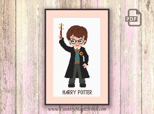 Little Wizard Boy Cross Stitch Pattern #hp003