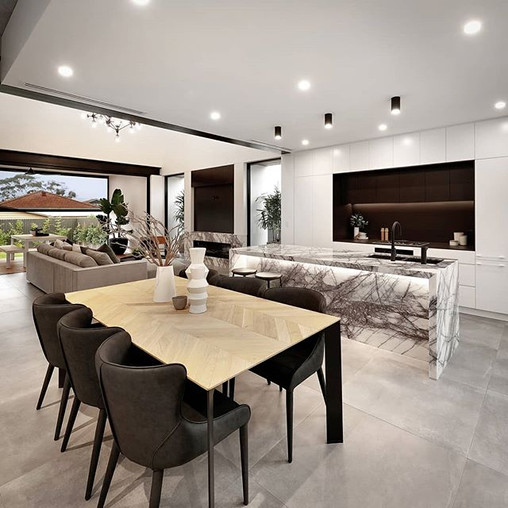 Open plan dining and kitchen merging with Living beyond.