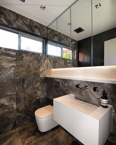 Silver Travertine Powder Room.