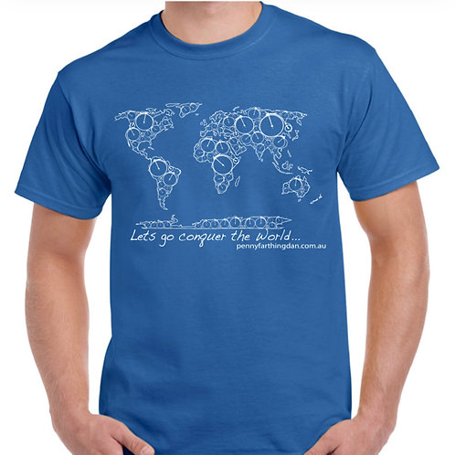 Penny Farthing Dan world map T-Shirt