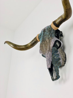 Our favouritre piece of art we have worked on to date. The extraordianry Highland cow skull!