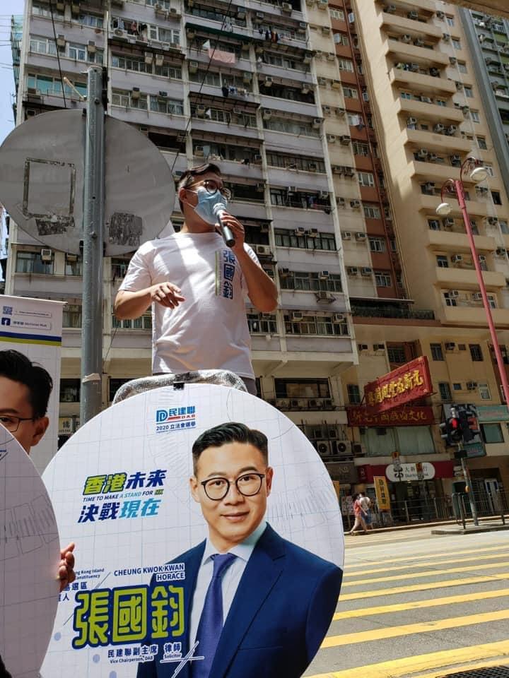 張國鈞在街頭宣講參選理念