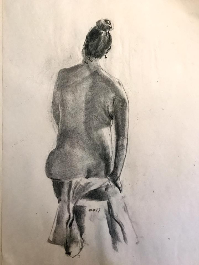 charcoal on paper, 24x18in, 2017