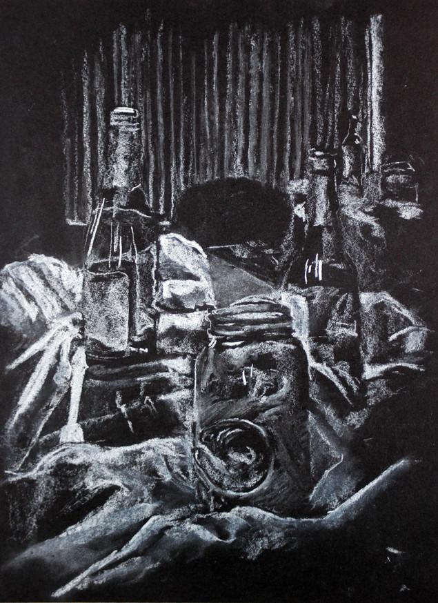 white conte on black paper, 14x11in, 2013