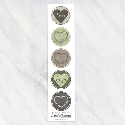 Down Home-Hearts 2-inch Circles