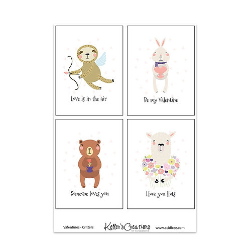 "Valentines-Critters-3x4"" Cards"
