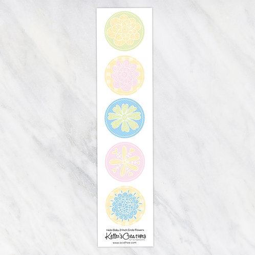 Hello Baby-Flowers 2-inch Circles