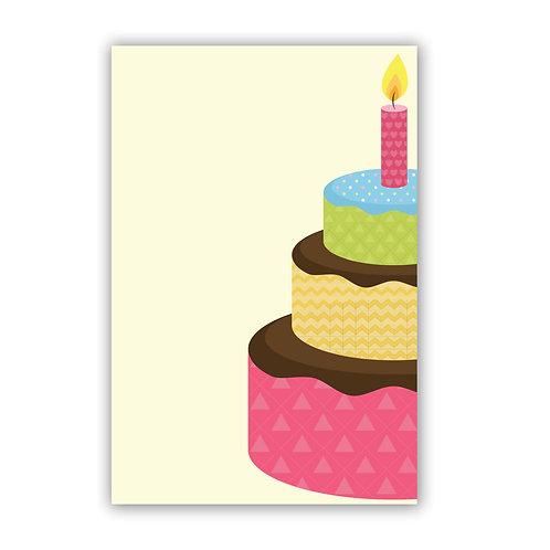 Birthday Cake - 4x6 Simple Note