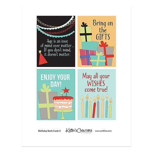 "Birthday Bash II (red) -3x4"" Cards"