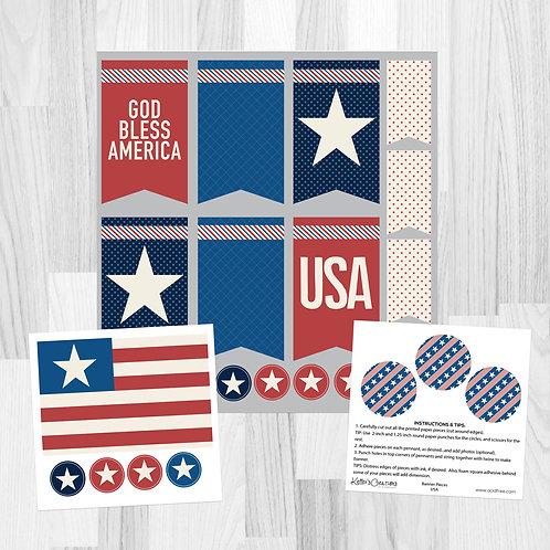 USA-Banner Pieces