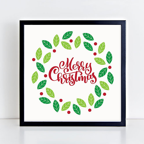 Merry Christmas Wreath Print