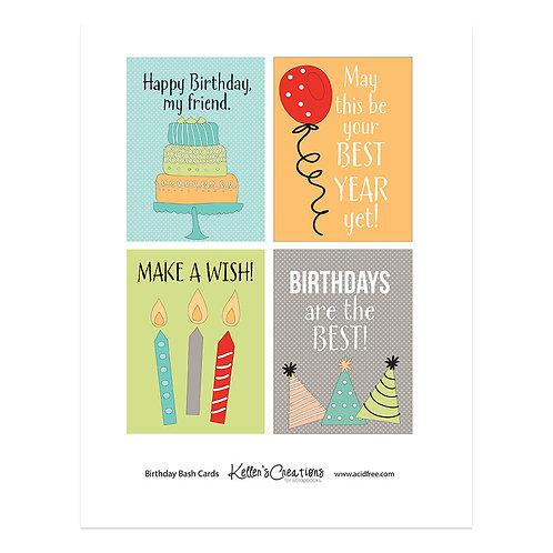 "Birthday Bash (red)  -3x4"" Cards"