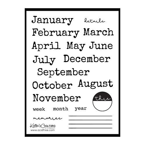 Months 4x6 Stamp Set