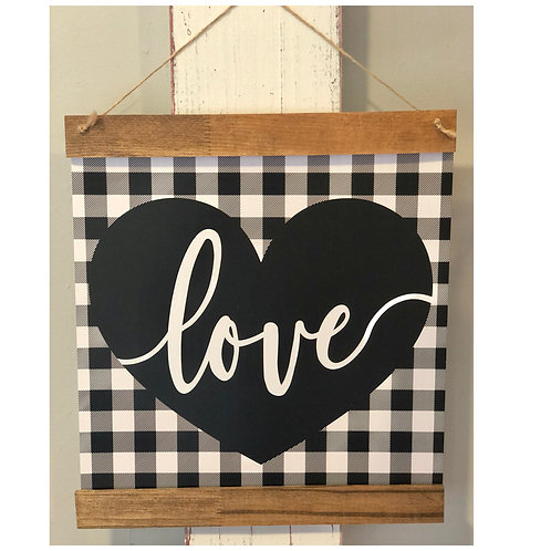Love Heart Buffalo Plaid Print