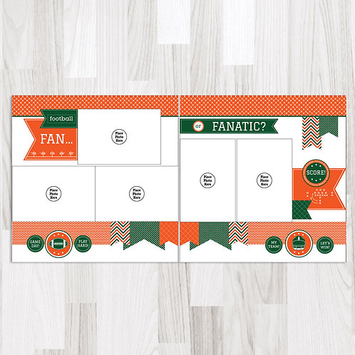 Football Fan-Green & Orange & White Perfect Pages