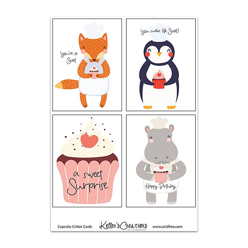 """Cupcake Critters-3x4"""" Cards"""