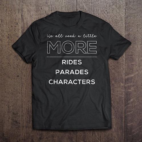 MORE Rides, Parades, Characters T-shirt (black)